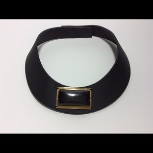 Marni Black Leather & Stone Necklace